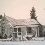 Farmhouse drawing in Pen and Ink